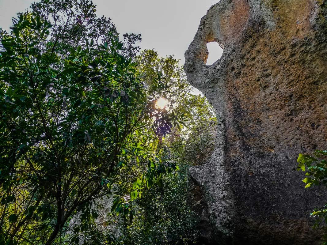 Resti di insediamenti etruschi nei boschi di Bomarzo