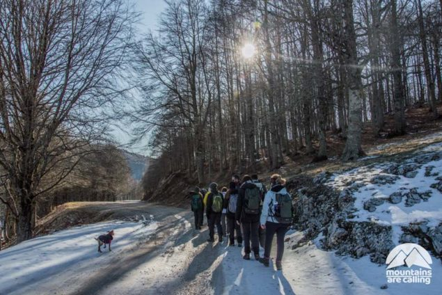 Escursionisti su sentiero innevato