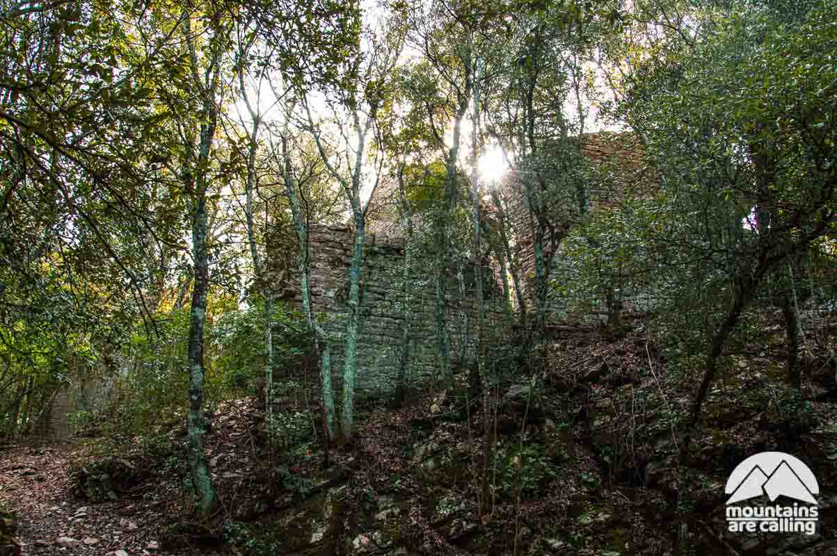 Rovine di un punto d'osservazione nel bosco
