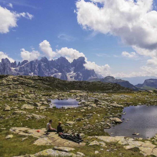 Vista delle Pale di San Martino dal lago Juribrutto