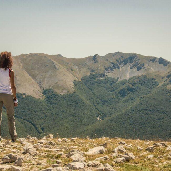 Escursionista che guarda verso una montagna