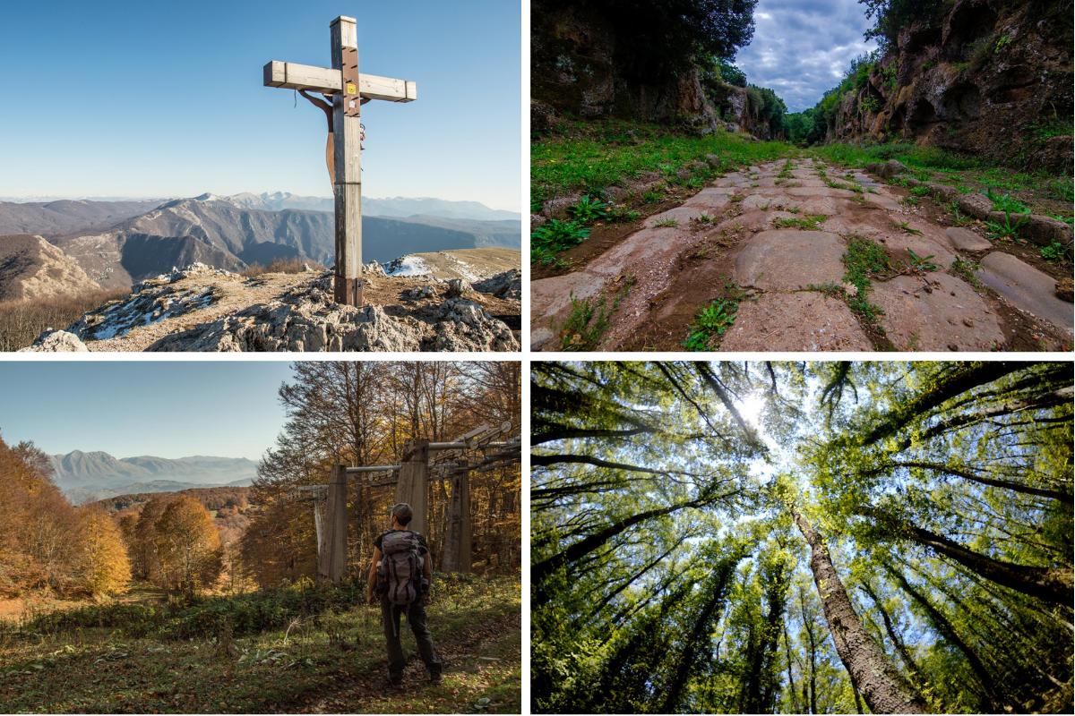 Mix di foto naturalistiche, montagna, bosco e rovine etrusche