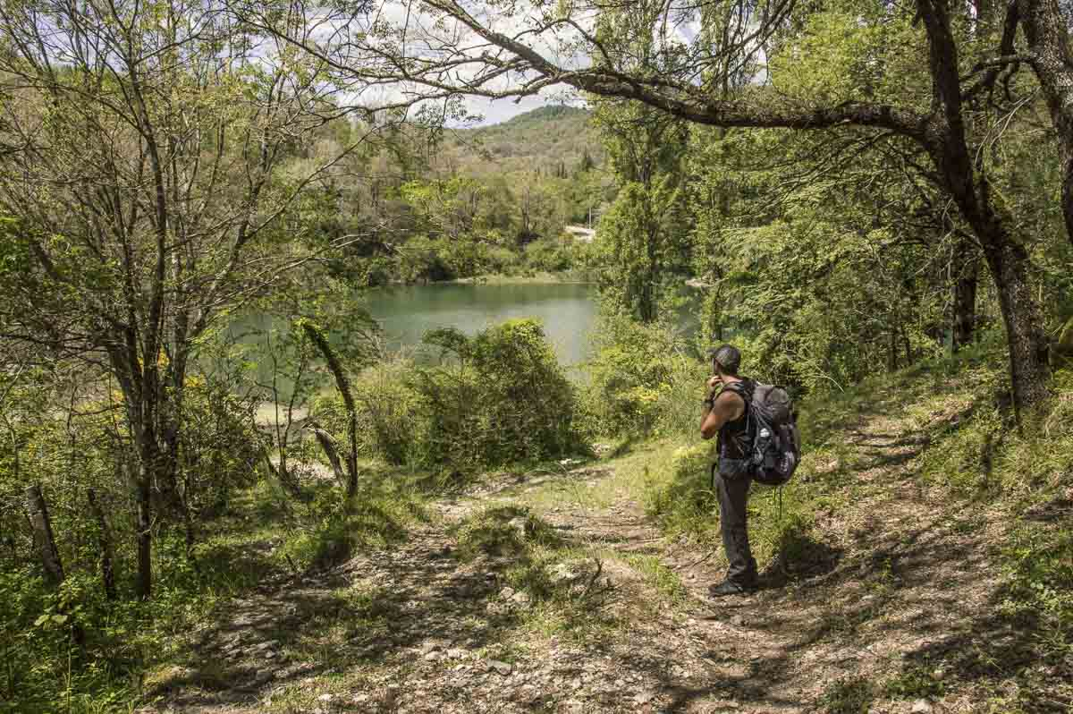 escursionista che osserva dei laghetti immersi nel bosco
