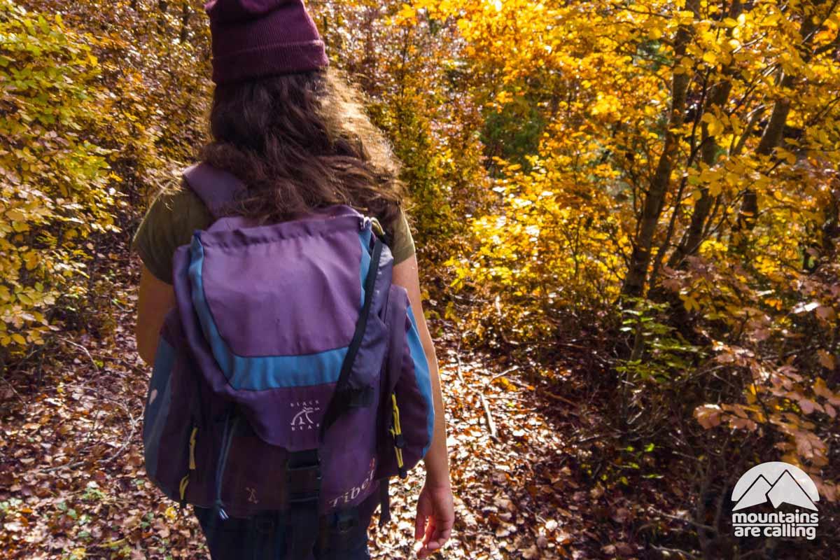 escursionista che attraverso un bosco durante l'autunno