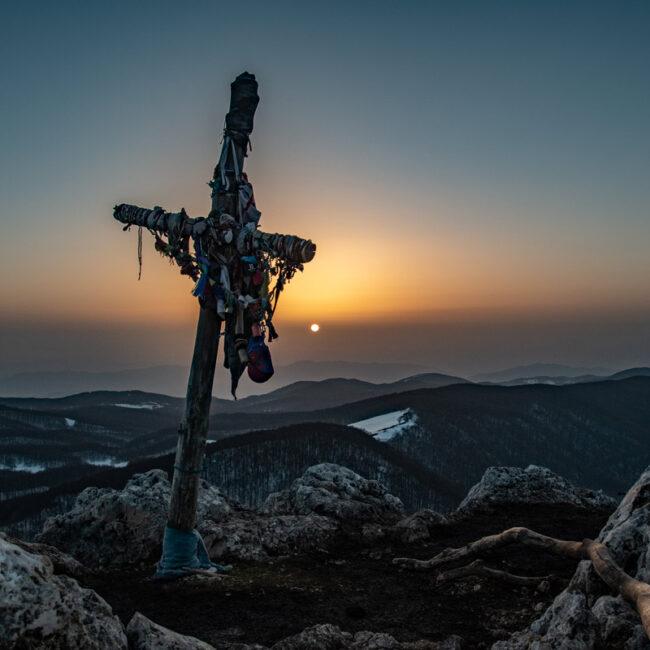 Tramonto dalla vetta di una montagna